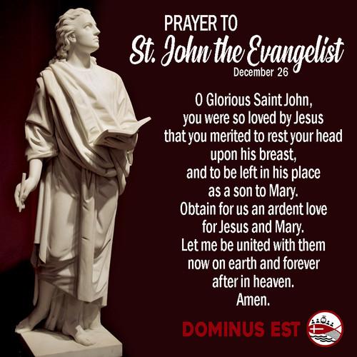 December 27 Prayer to St John the Evange