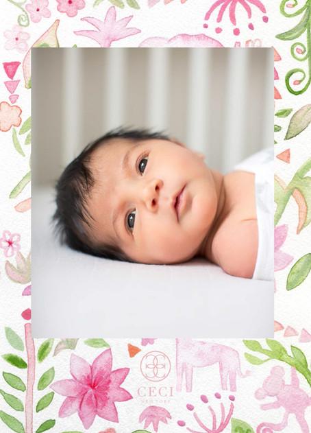 Custom Watercolor Baby Announcement Back