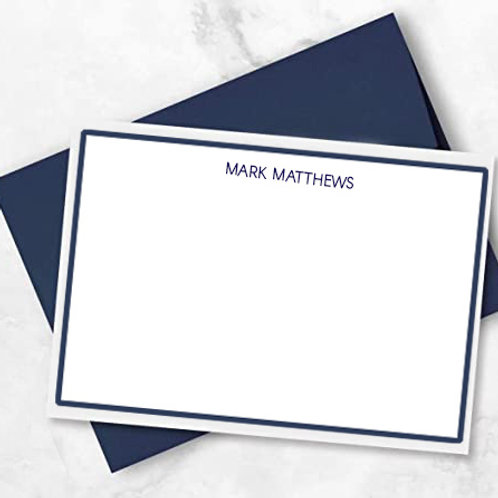 Men's Stationery - Full name with Border (Set of 50)