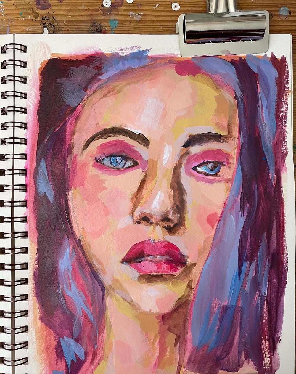 9x12 acrylic portrait on paper