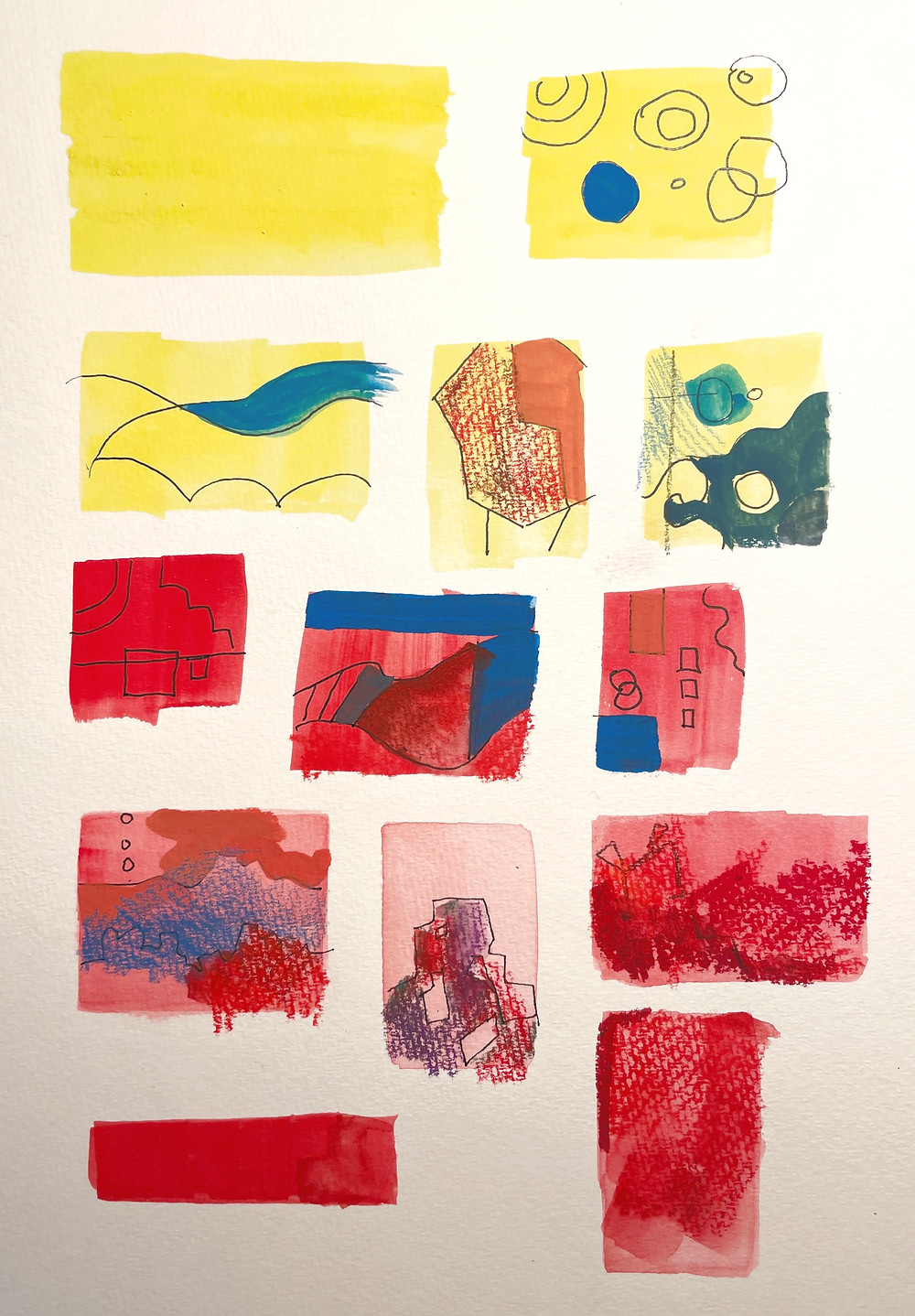 Thumbnail sketches in Yellow and Red Gouache