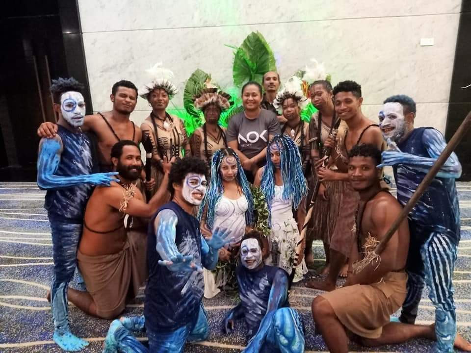 Nadya with performers of the Body Art Show