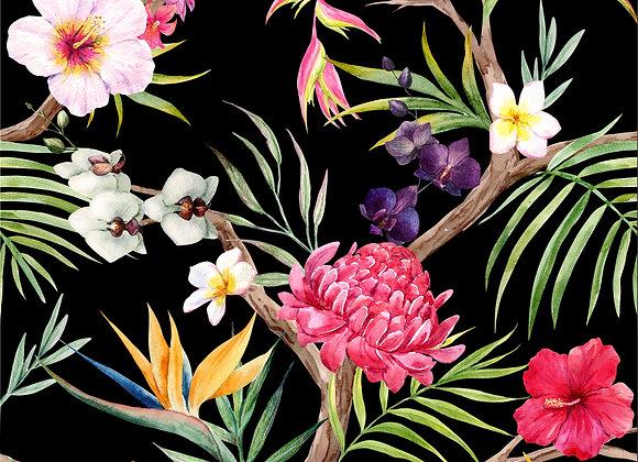 TROPICAL FLOWERS VELVET CUSHION COVER