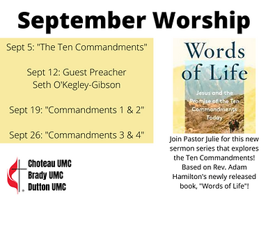 New Sermon Series! beginning in September Join Pastor Julie as she explores Words of Life