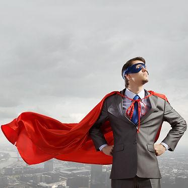 Young man in superhero costume represent