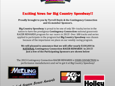 Contingency Connection Racer Rewards Sponsored by Tyrrell Doyle