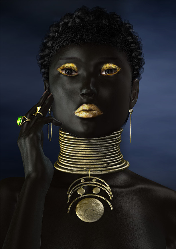 Black Woman with Neck Rings