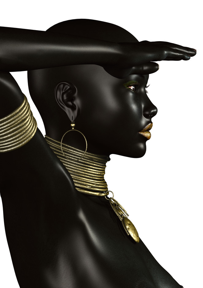 Sudanese Woman Staring into Distance