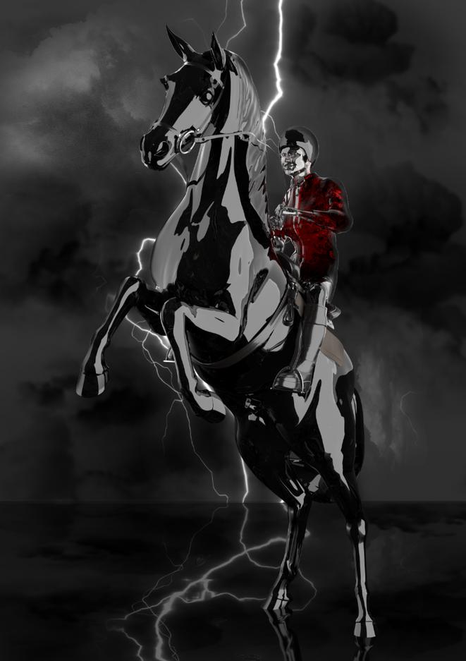 Black Stallion with Lightning