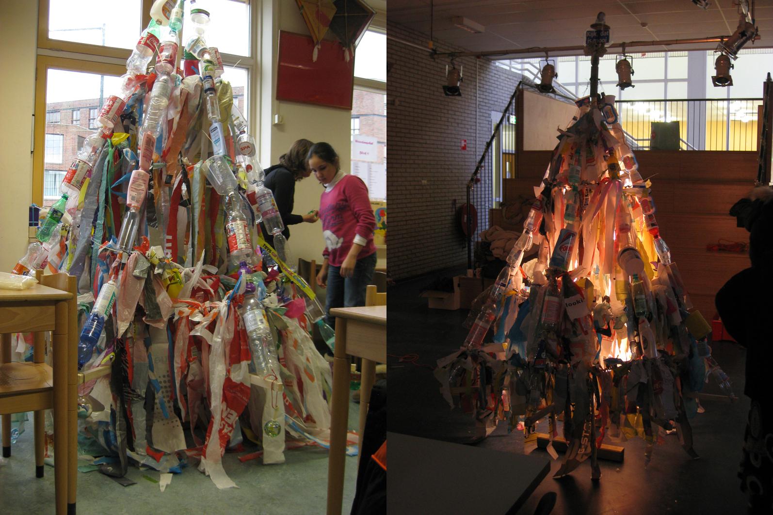 kerstboom van afval Amsterdam 2012 eilanden