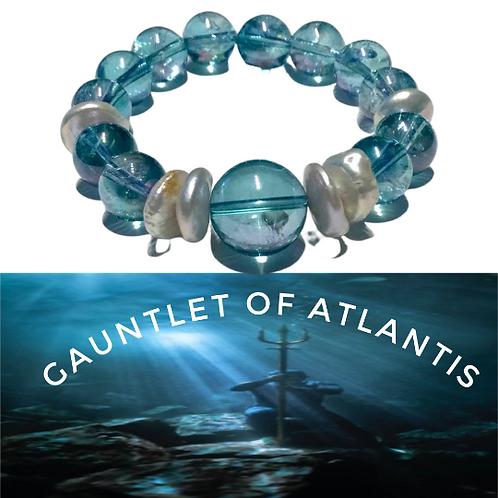 Aqua Aura Bracelet with genuine pearls.  The Gauntlet of Atlantis
