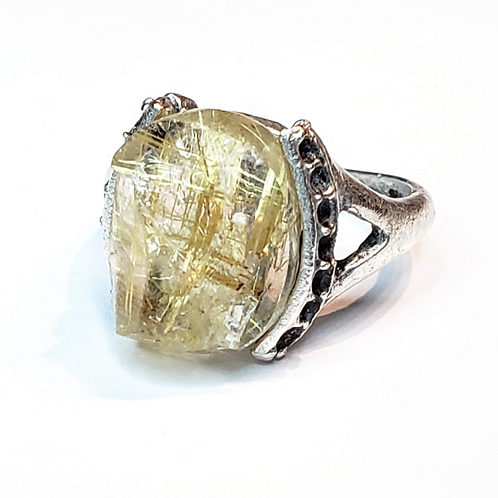 Golden Hair Rutilated Quartz Ring. Adjustable.  Angel Protection...