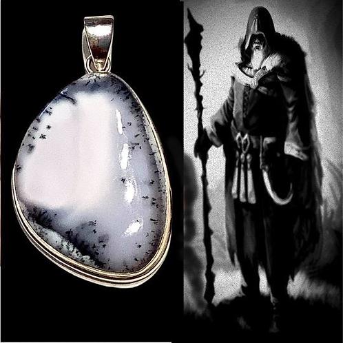 Merlinite Pendant: Stone of Magic, Increase Intuition, Mediumship. Statement Pie