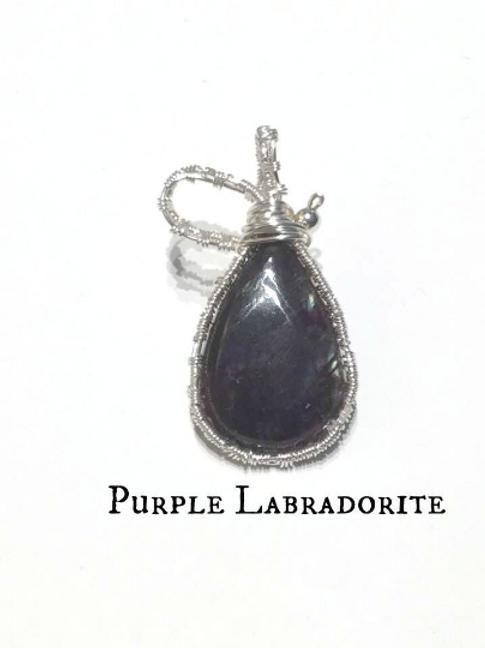 Labradorite Wire Weaved Pendant: Rare Purple Labradorite.