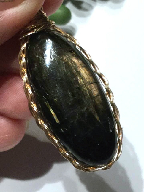 Nuummite Pendant. Includes Authenticity Card,  Empath Protection, Grounding