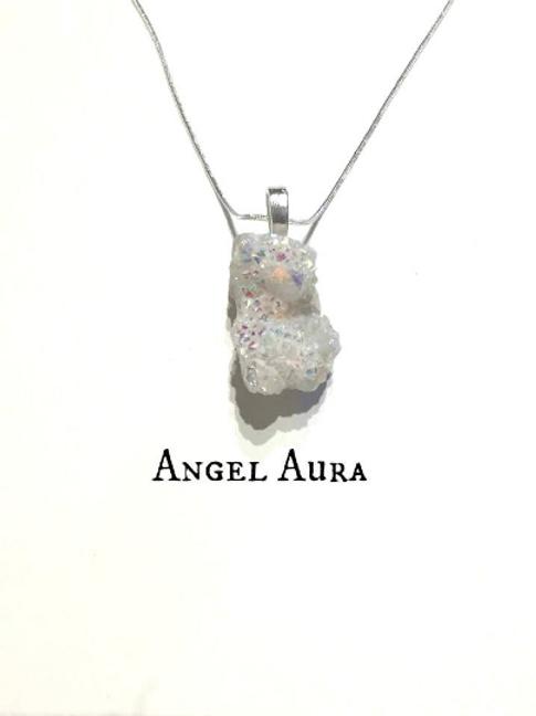 Angel Aura Pendant :Druze Crystal Healing .Angel Jewelry, Silver Pendant...