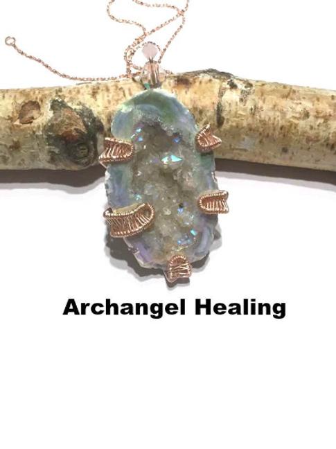 Angel Aura Druzy Crystal Healing Necklace For Empaths: Archangel Healing...