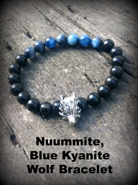 Indigo Adult Nuummite and Blue Kyanite Wolf Bracelet: Transmute Energy, Find You