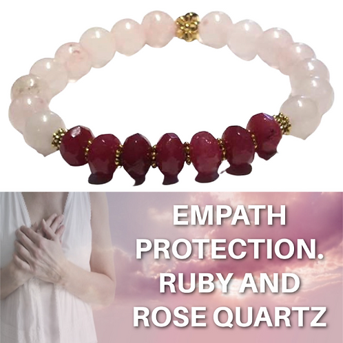 Ruby and Rose Quartz Bracelet.  Healing and Trusting Love After Being Hurt