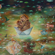 Singapore: frizzed Hair and a brush to paint - Solo Exhibition