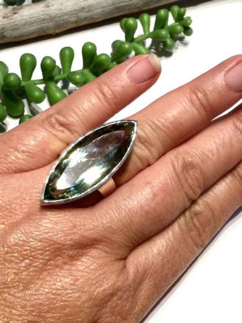 Archangel Raphael Green Amethyst Ring.  Portal To Angel Of Healing