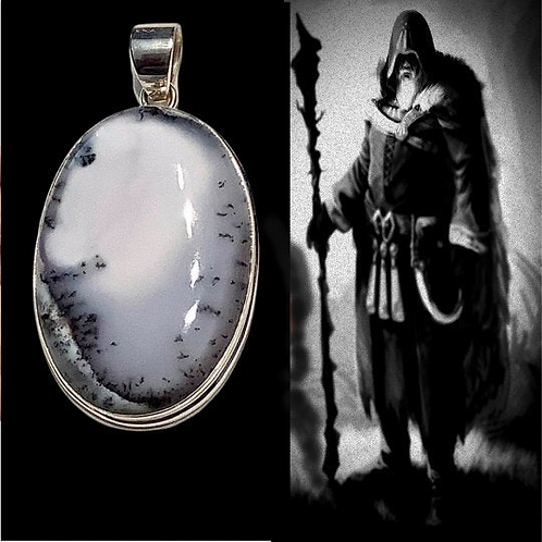 Merlinite Pendant in Solid Sterling Silver. Portal. Protection by Ancient Druids
