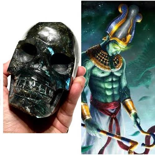 Labradorite Crystal Skull Infused With Energy of Egyptian God Osiris