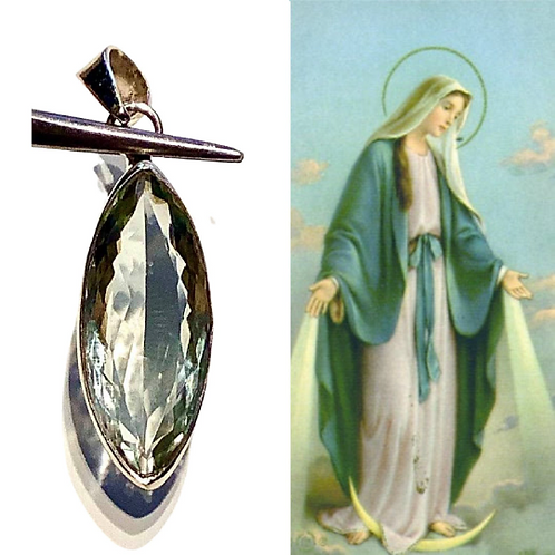 Green Amethyst Pendant: Encoded To Hold Energy Of Ascended Master Mother Mary