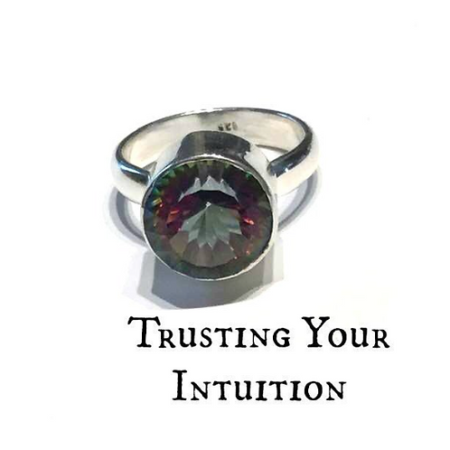 Mystic Topaz Ring Size 8.5 In Silver Crystal Healing Jewelry, Trusting Your Intu