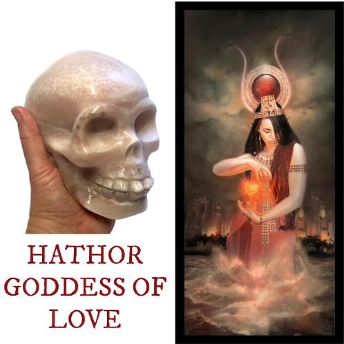 HATHOR CRYSTAL SKULL. Pink Opal,  Egyptian Goddess Of Women, Love, Fertility