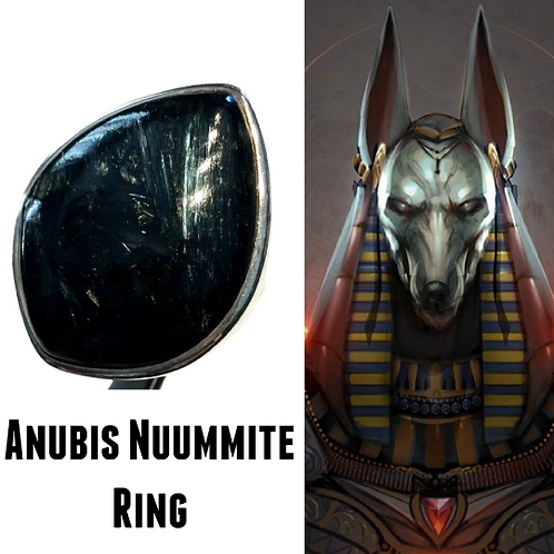 Nuummite RIng.  Encoded By Egyptian High Priestess To Hold Energy Of Anubis...
