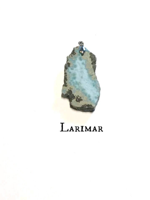 Larimar Sterling Silver Pendant:  Statement Piece. Stone of Atlantis...
