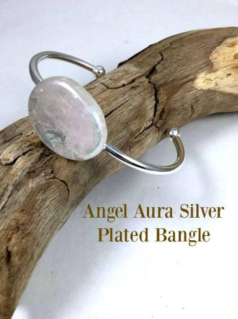 Angel Aura Silver Plated Bangle Bracelet ;  Guardian Angel Meditation Included.