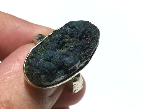 Azurite Ring: Raw Azurite, Set in Sterling Silver Size 6.  Stone Of Heaven.