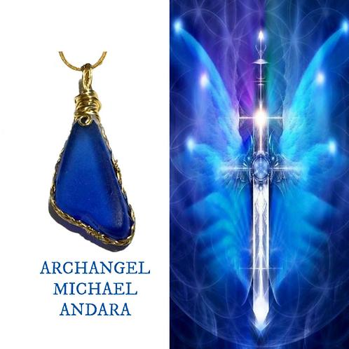 Archangel Michael Andara Necklace. Blessed At Archangel Michael Vortex