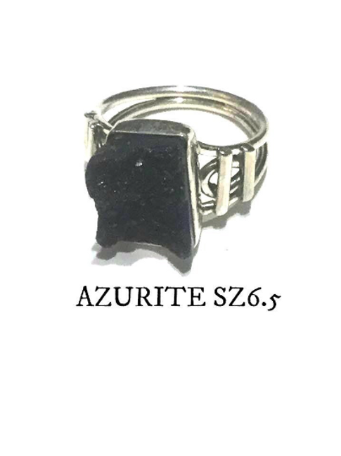 Azurite Ring: Raw Azurite, Set in Sterling Silver Size 6.5.  Stone Of Heaven...