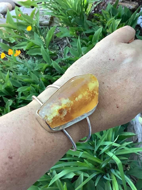 Amber Bracelet. Silver Cuff Bracelet, Encoded Golden Ray, God and ALL ARCHANGELS