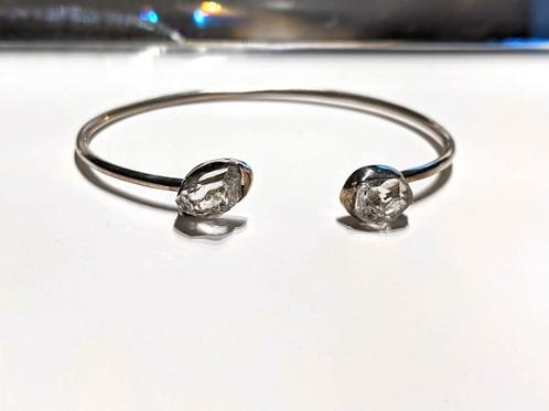 Herkimer Diamond Bracelet. Solid Sterling Silver. Adjustable.  Cuff Bracelet,