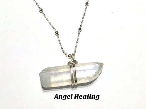 Angel Aura, Sterling Silver, Crystal Healing Necklace. Guardian Angel...