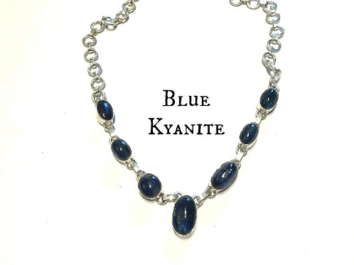 Blue Kyanite Necklace For Indigo Adults To Find Balance, Peace, Success