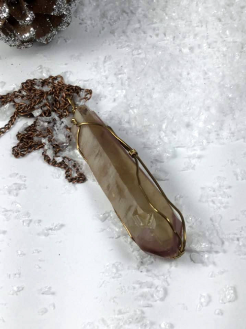 Lithium Quartz Crystal Wand Healing Necklace:  Anti Depressant, Anti Anxiety...