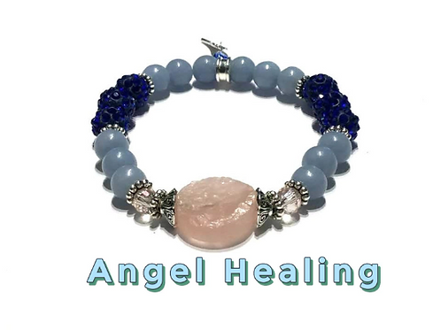 Angel Healing Bracelet Combined  with Mother Mary. Rose Quartz, Angelite, Reiki