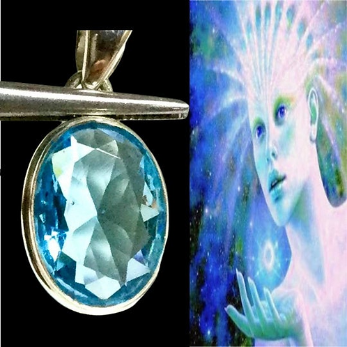 Arcturian Andara Pendant with Crystal & Authenticity Card. .STAR SEED Blue Andar
