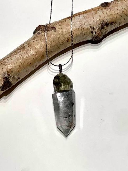 Green Garnet Crystal Skull Necklace with Shamanic Dream Quartz Crystal Wand.