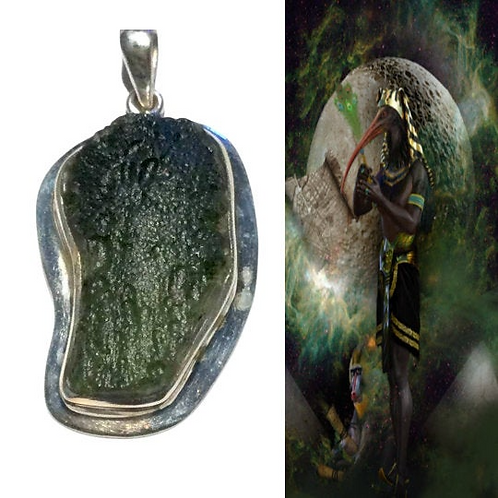 Moldavite Pendant Encoded By Egyptian High Priestess, Personal Portal To THOTH,