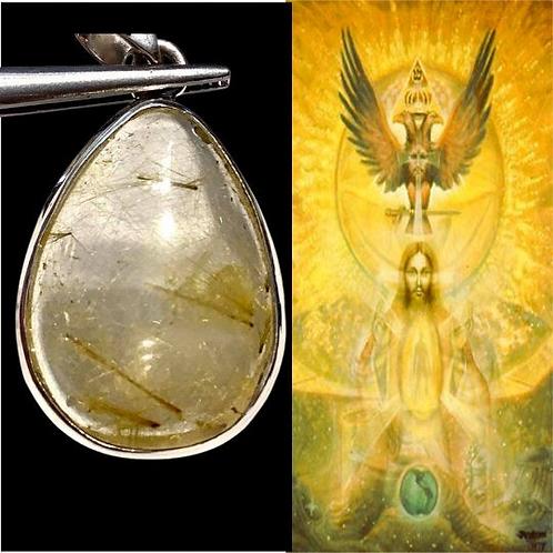 Golden Rutilated Quartz Pendant  Encoded To God Frequency, Christ Consciousness