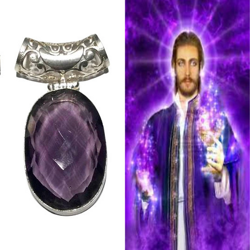 Andara Pendant, Purple in Silver Attuned To St Germain, Violet Flame