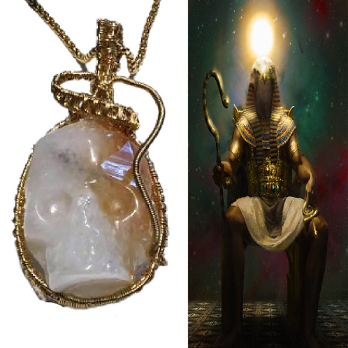 Citrine Crystal Skull Necklace. Encoded As Stargate To Egyptian God RA