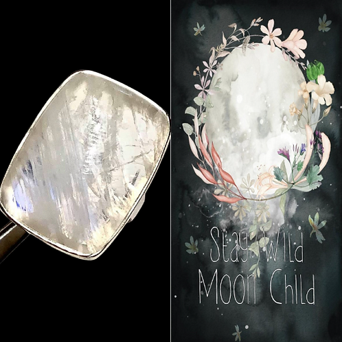 Moonstone Ring Encoded With Light/Energy of Full Moon. Full Moon Magic