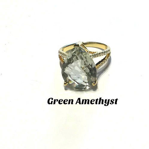 Green Amethyst Ring Holding Energy Of The Virgin Mary, Ascended Master Series...